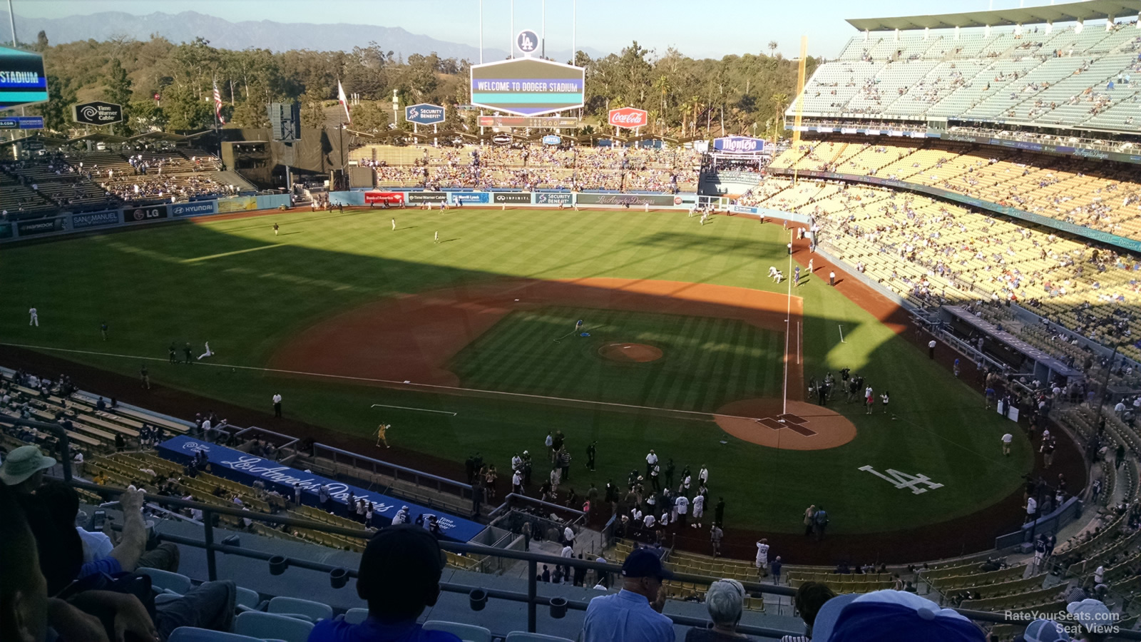 Seats in the sun down the first base line at Dodger Stadium