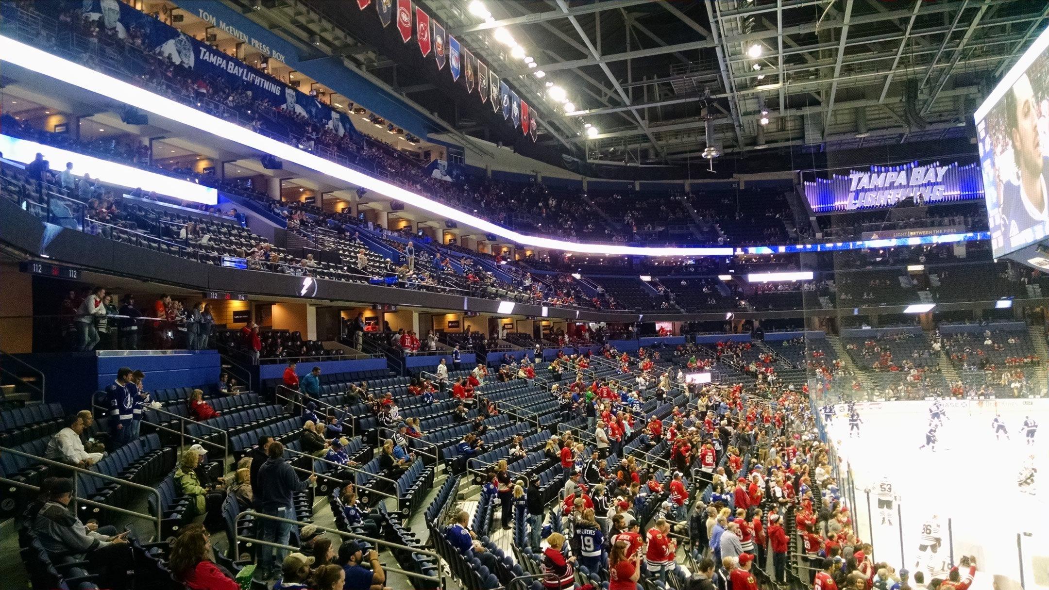 Amalie Arena Promenade Level Sides Hockey Seating