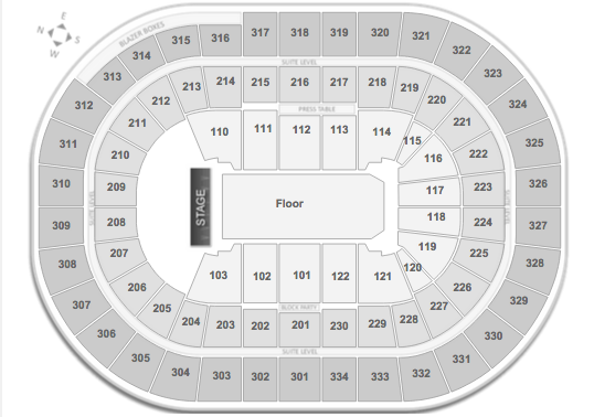 Rush Moda Center Seating Chart