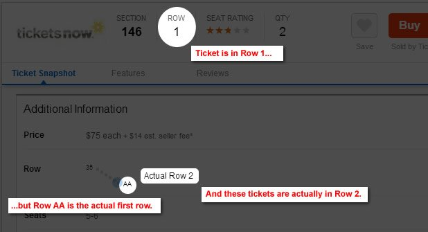 actual row vs listed row on tickets rateyourseats com