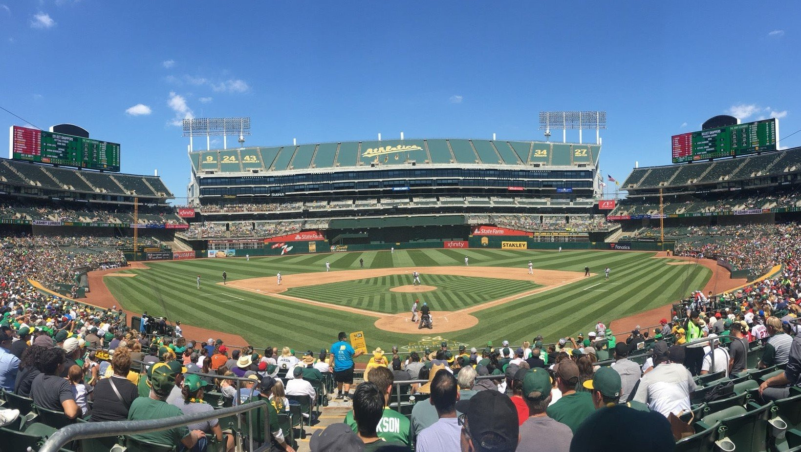 blue skies at oakland coliseum