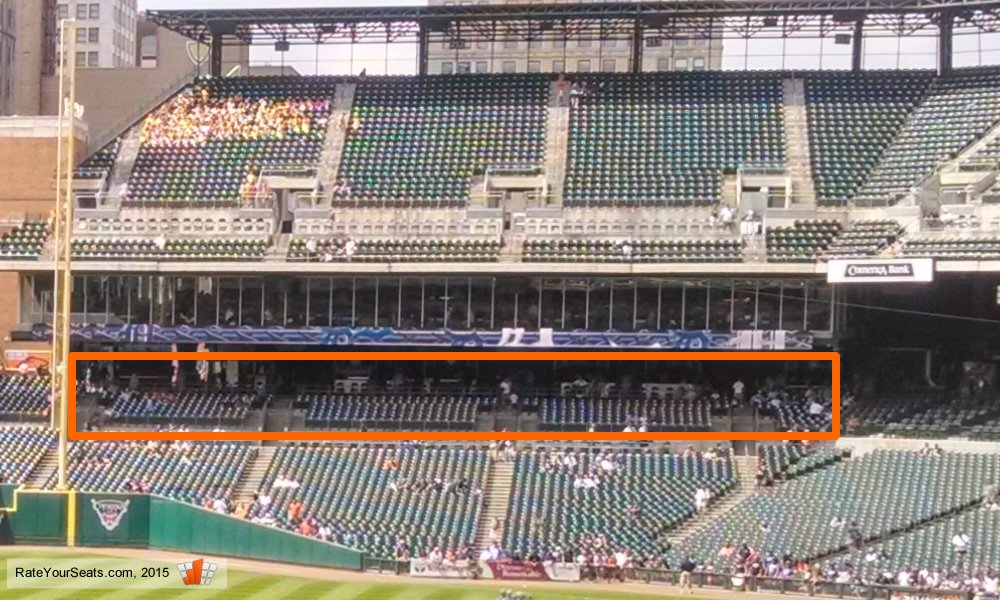 Shaded seating in Sections 112 through 115 at Comerica Park