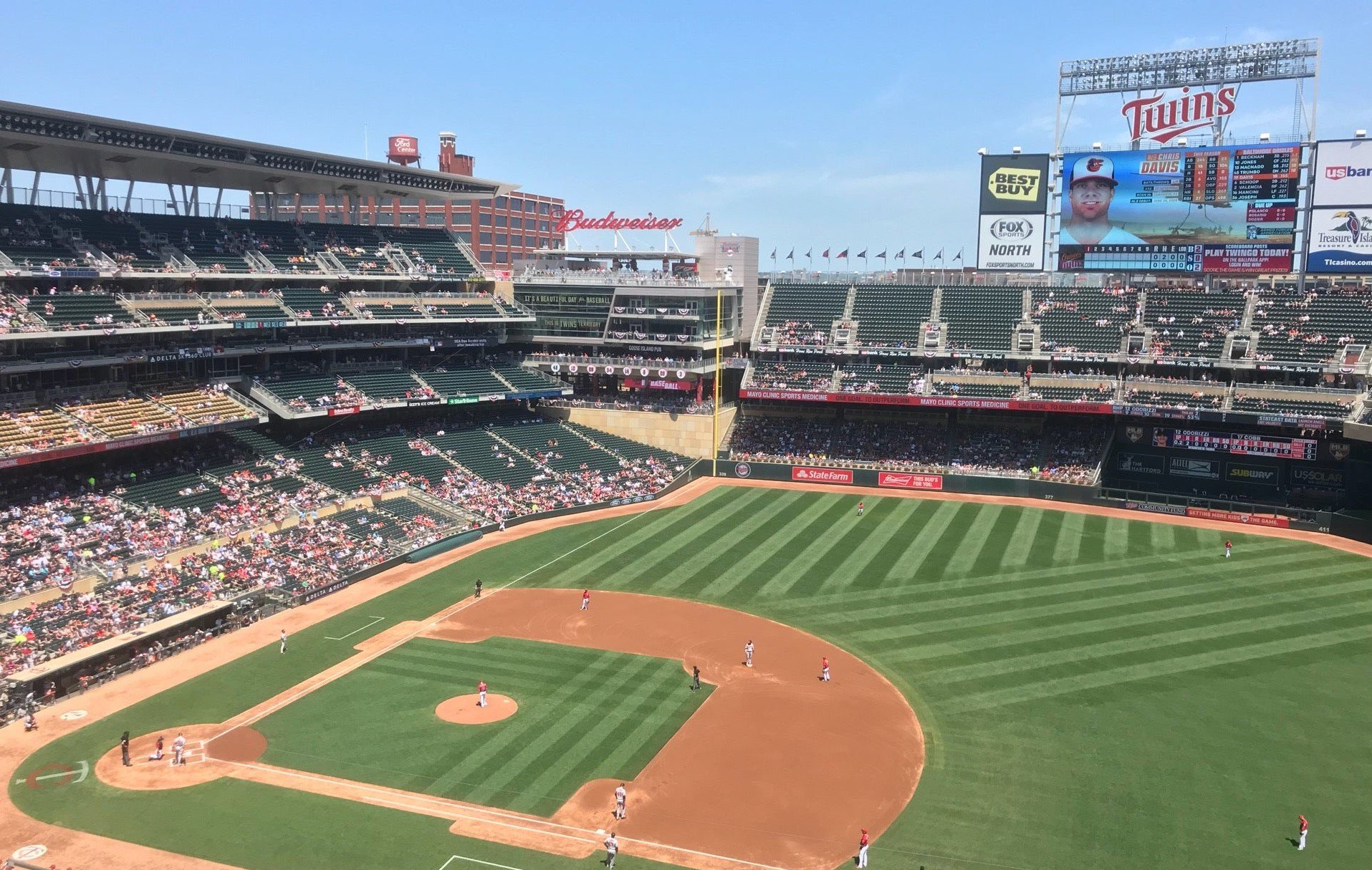 sunny day game at Target Field