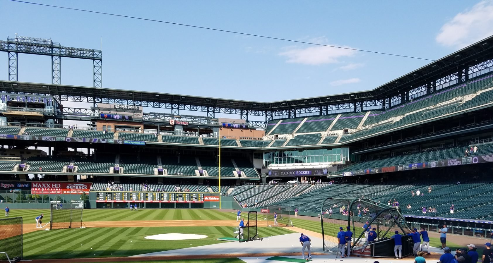 sunny outfield seats at coors field