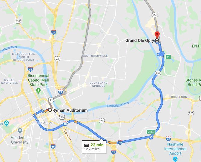 Distance from Ryman to Grand Ole Opry House