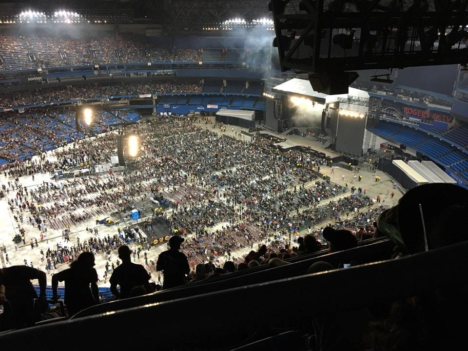 High seats for a concert at baseball stadium