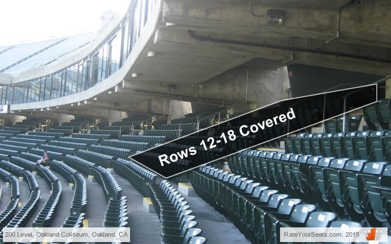What Rows In The 200 Level At Oakland Coliseum Are Under Cover Rateyourseats Com