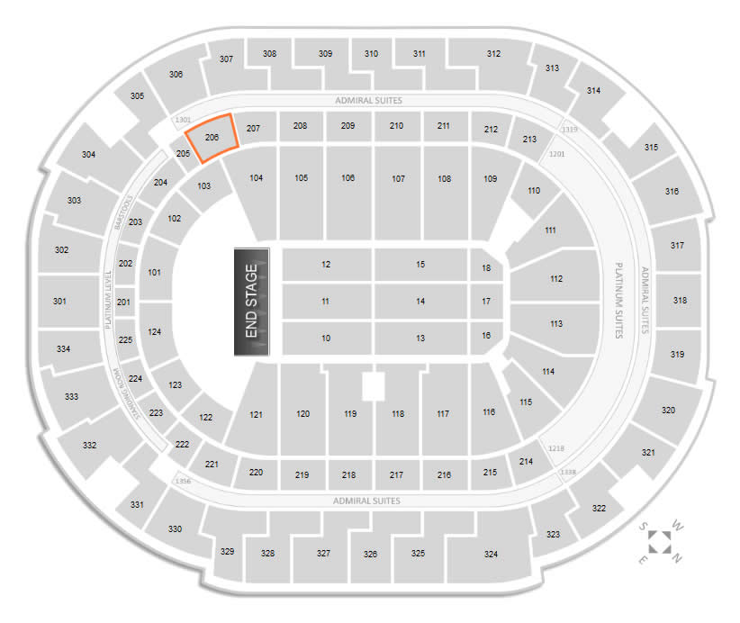 Section 206 Seating Location at American Airlines Center