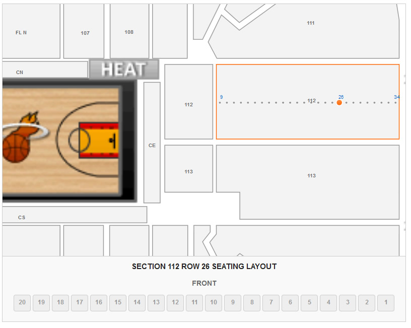 Seating Layout for Section 112 Row 26 at AmericanAirlines Arena