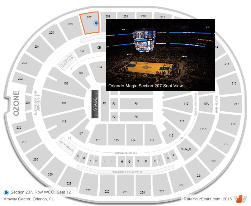 Where Is Section 207, Row WCC, Seat 12 At The Amway Center