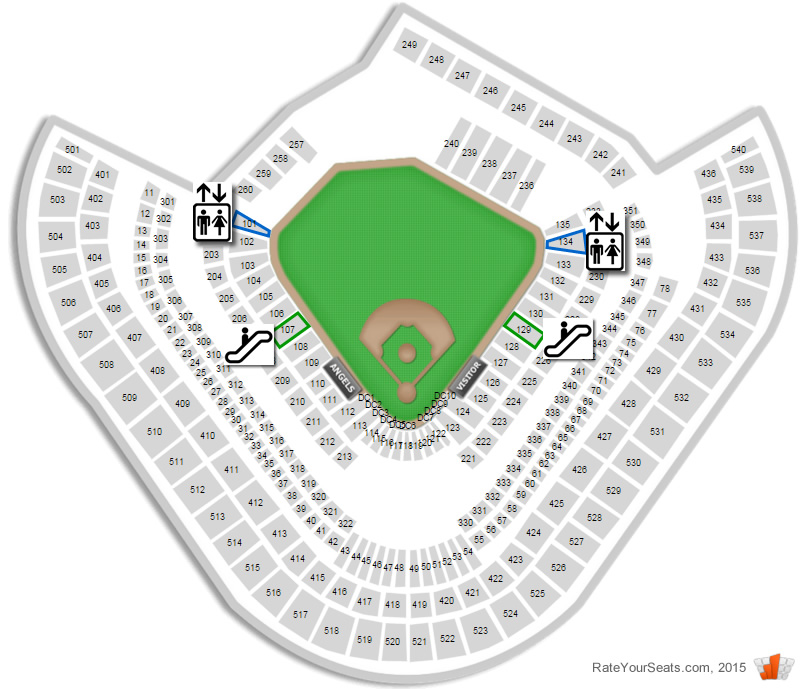 Angel Stadium Seating Map Are the escalators or elevators closer to Section 520 at Angel