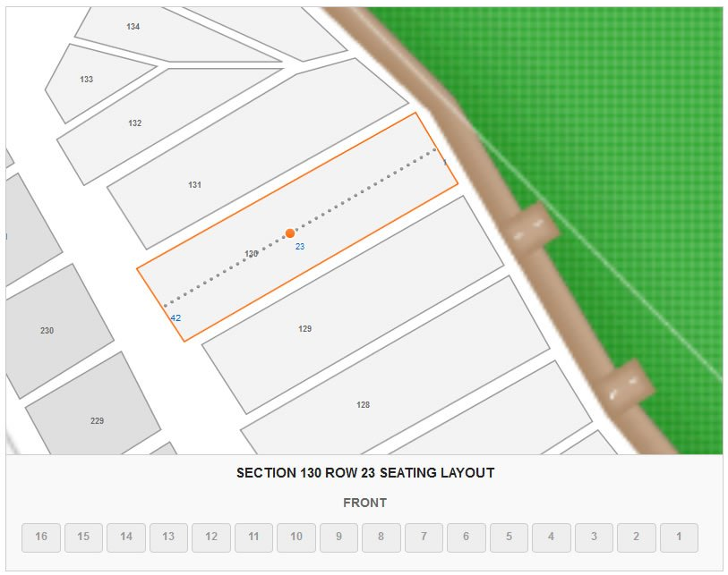 Section 130 Row 23 Seat 11 Seating Layout
