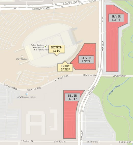 Where is the closest parking for Section C110 at AT&T Stadium ... on