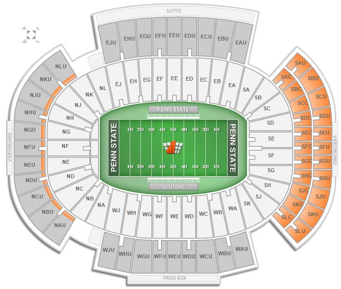 Penn state football beaver stadium seating chart rateyourseats com