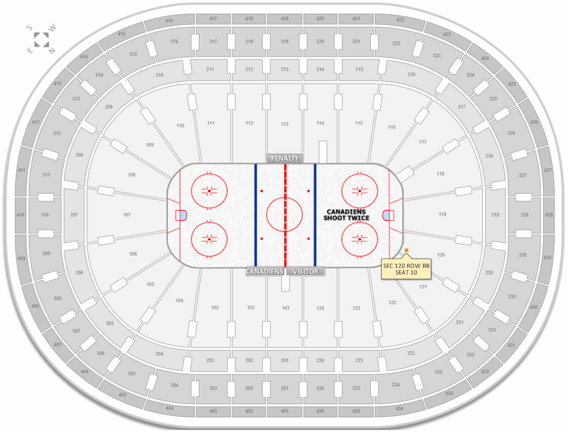 Section 110 Row BB Seat 10 at Bell Centre