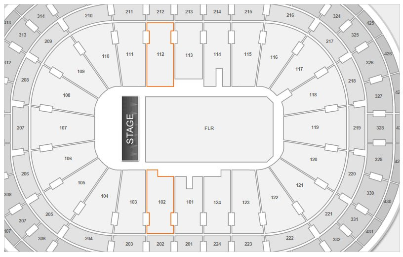 Sections 102 and 112 at Bell Centre
