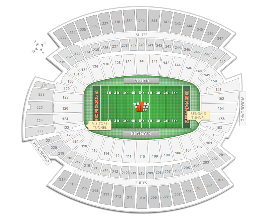 The Player Entry Tunnels Are Labeled On Seating Chart Of Paul Brown Stadium Shown Above