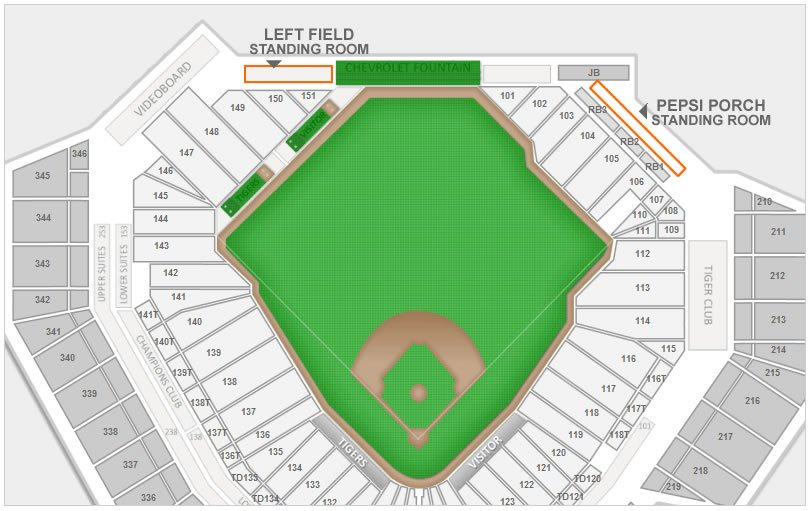 Where Can I Stand For Sro Seats At Comerica Park