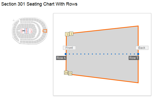 Seating Layout in Section 301 Rows A & B at Bridgestone Arena