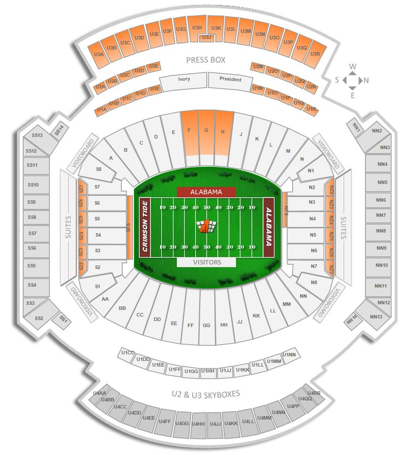 Bryant Denny Stadium Map Alabama Football Bryant Denny Stadium Seating Chart