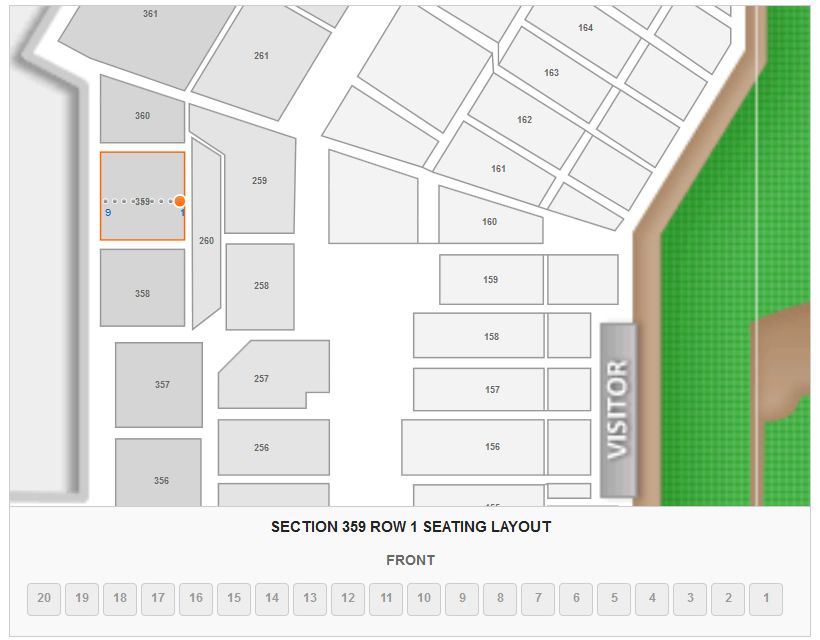 Seating Layout in Section 359 Row 1 at Busch Stadium