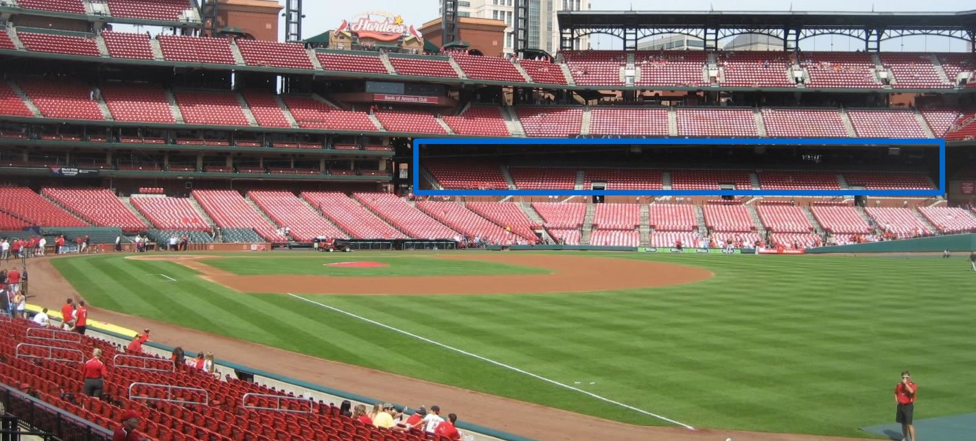 Third base side shade at Busch Stadium