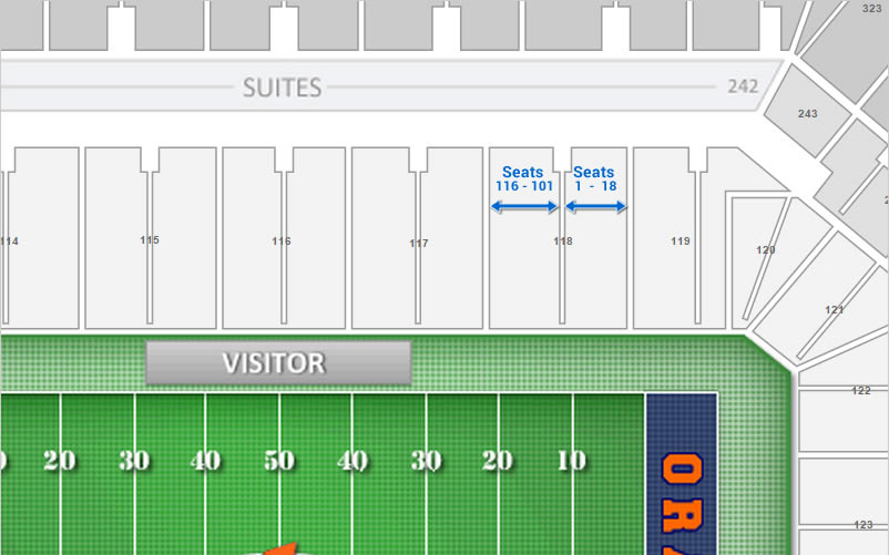 Seat Numbering in Section 118 at the Carrier Dome