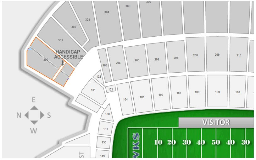 Handicap Accessible Seating in Section 300 at CenturyLink Field