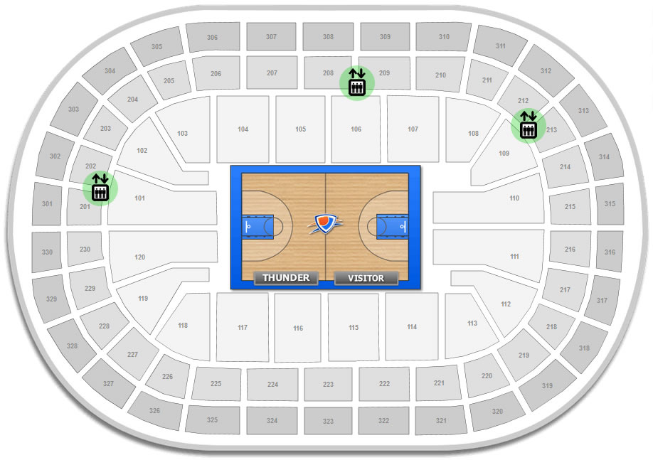 Map Of Elevator Locations At The Chesapeake Energy Arena