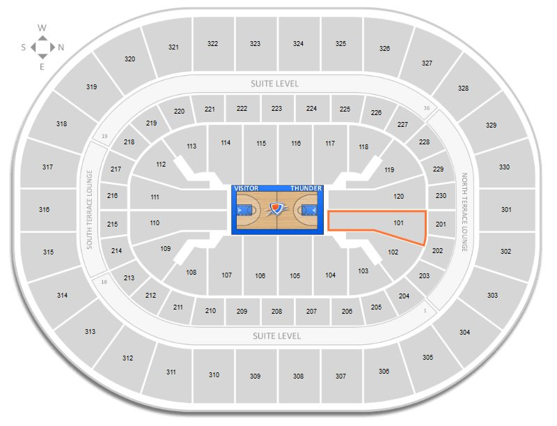 Section 101 Seating Location At Chesapeake Energy Arena