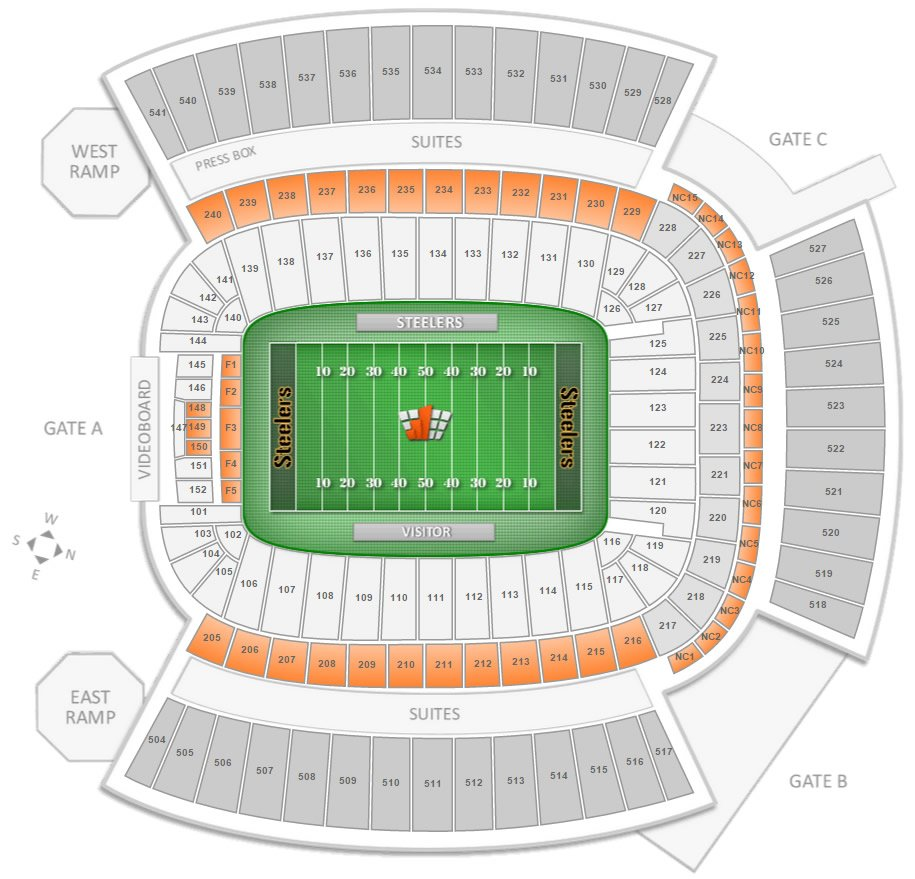 Club Seating Locations at Heinz Field