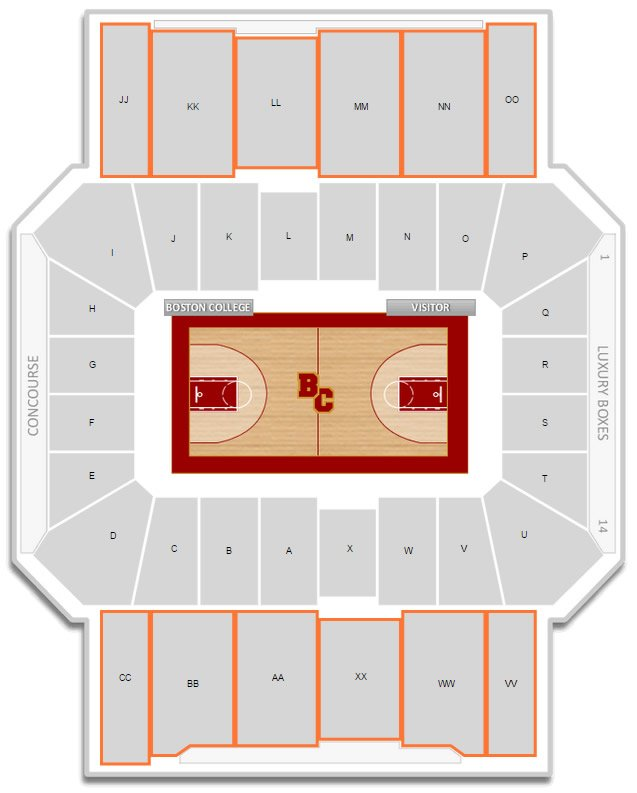 Upper Level Seating at Conte Forum