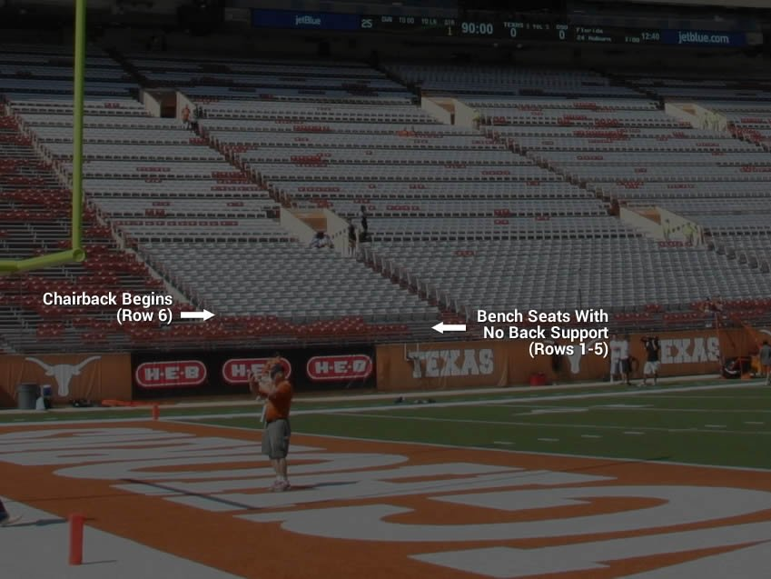 Chairback Seating in Section 6 at DKR Texas Memorial Stadium