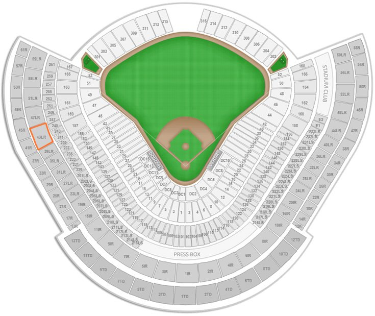 Where Is Section 43rs Row O Seat 8 At Dodger Stadium