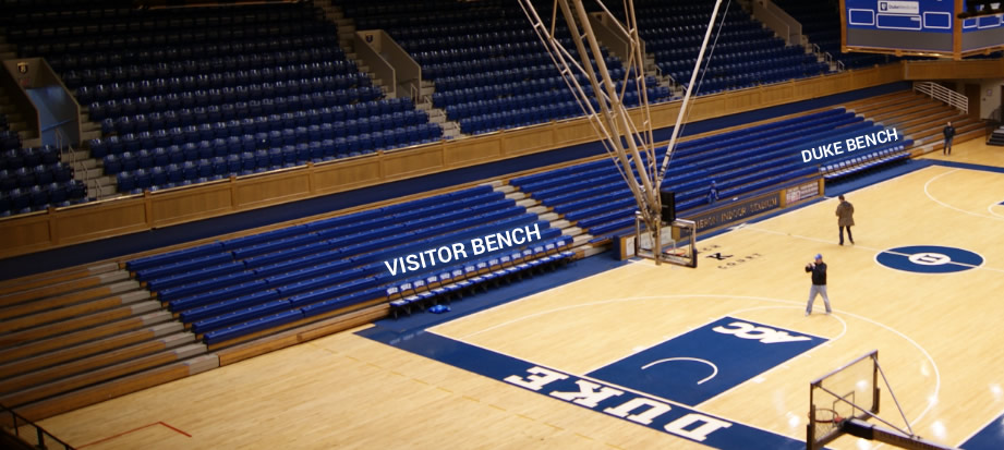 Which Seats Are Behind The Duke And Visitor Benches At