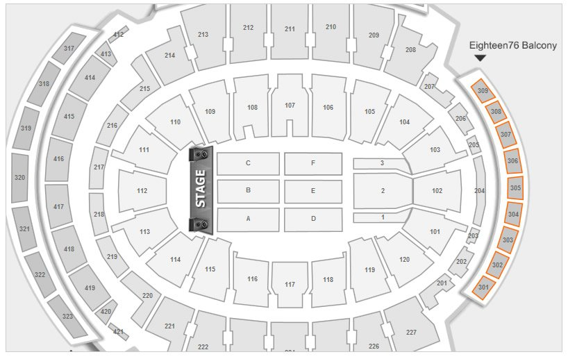 Location of the Eighteen76 Balcony Seats at MSG