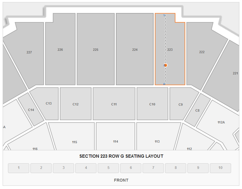 Seating Layout in Section 223 at FedEx Forum
