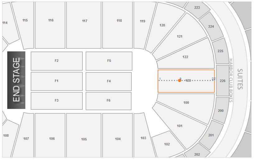 Sections 123 Row 9 Seating Layout at First Niagara Center