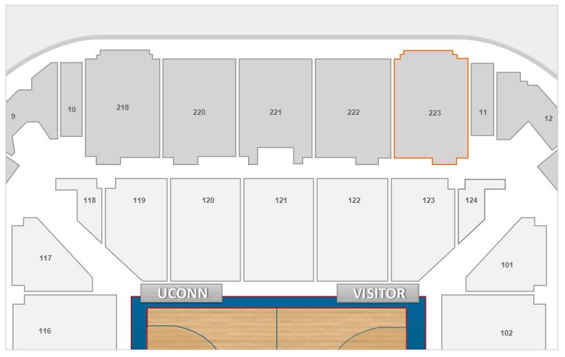 Section 233 Seating Location at Gampel Pavilion