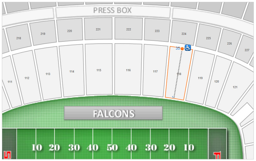Location of Seating Row 35 in Section 118 at the Georgia Dome