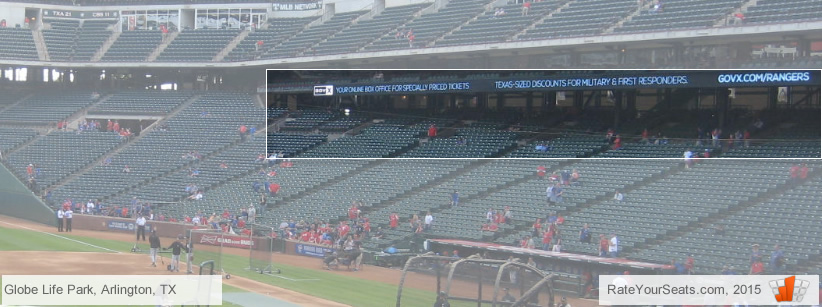 Globe Life Park covered sections 133-139