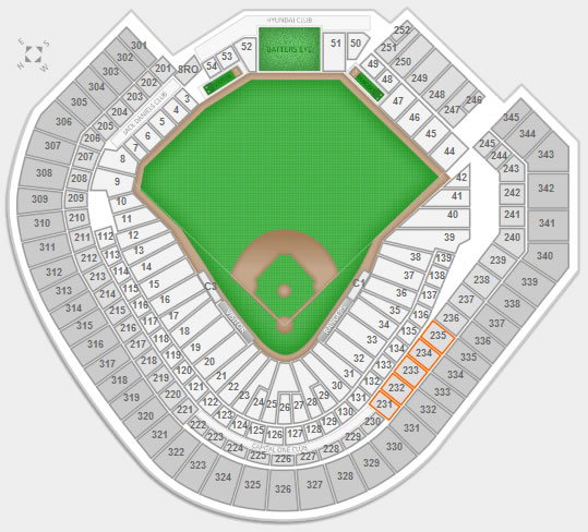 Sections 231-235 at Globe Life Park