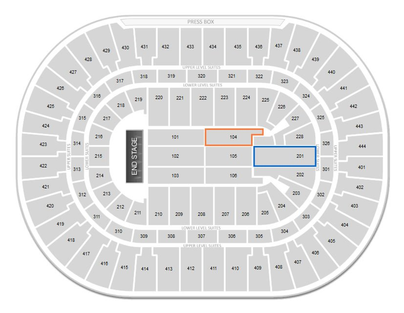 Which Is Better For A Concert At Honda Center Section 104 Or 201