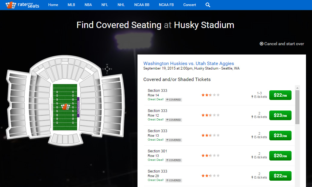 How to find covered seating at Husky Stadium