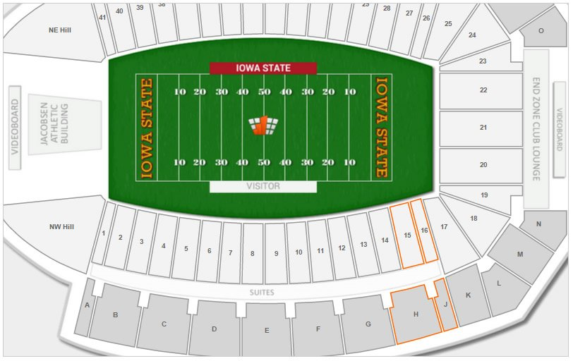 Visitor seating sections at Jack Trice Stadium