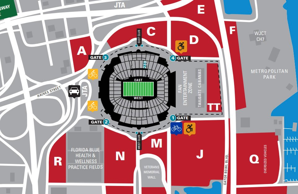 Everbank Field Parking Map Where should we park for section 238 at Everbank Field