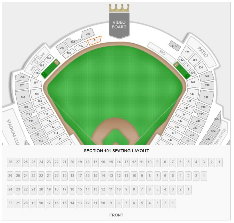 How many seats are in a row for section 101 at kauffman stadium