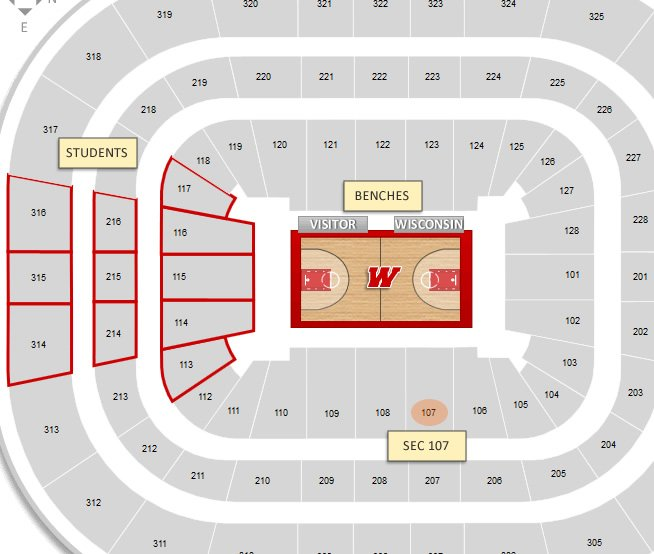 Is Section 107 Close To The Benches Or Student At Kohl Center