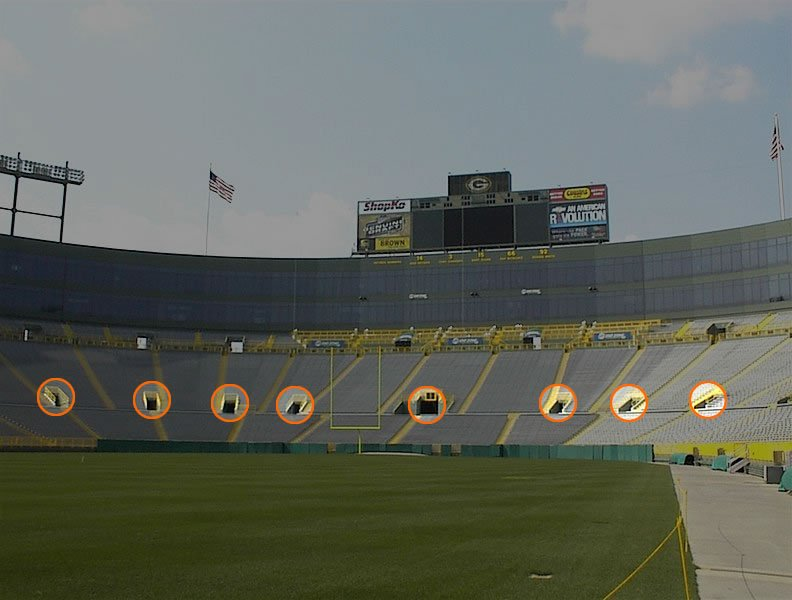Main Seating Bowl Entry Tunnels at Lambeau Field