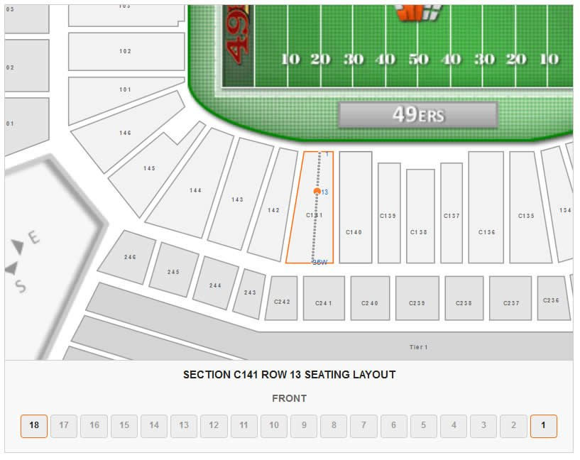 Seating Layout in Section C141 Row 13